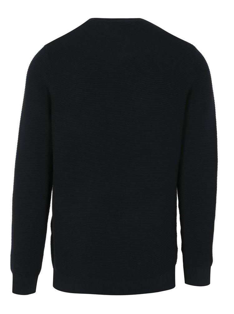 Tmavě modrý pánský žebrovaný svetr s.Oliver