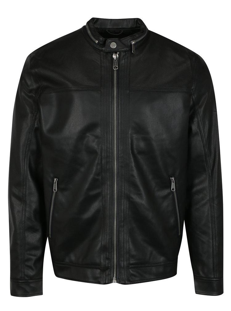 Černá koženková bunda ONLY & SONS London