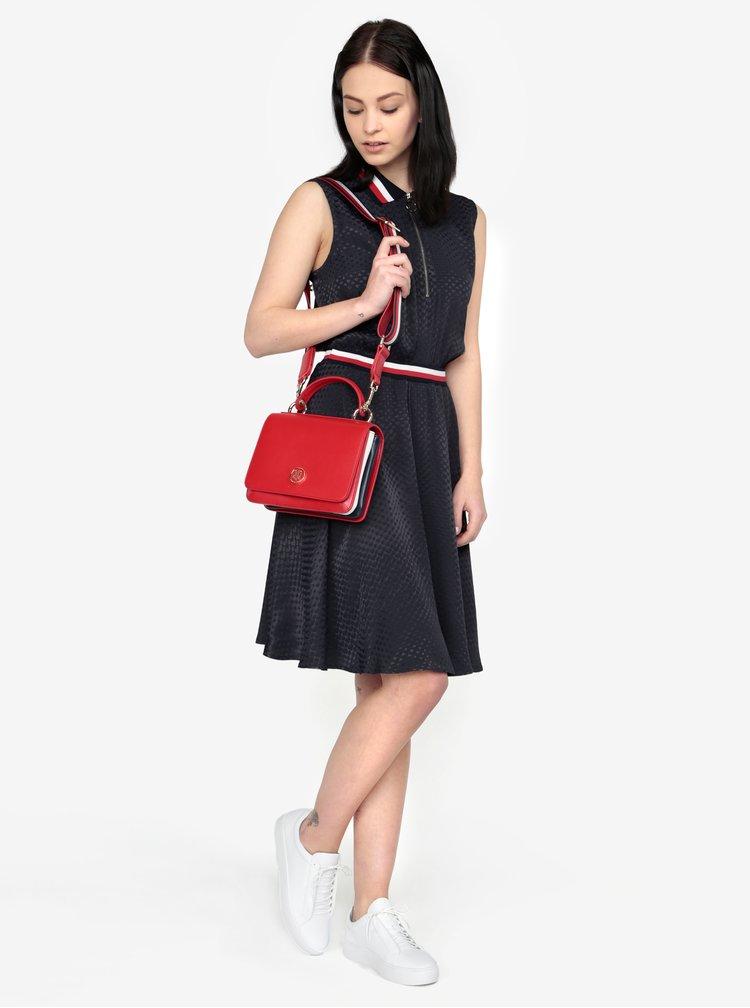 Červená koženková kabelka Tommy Hilfiger
