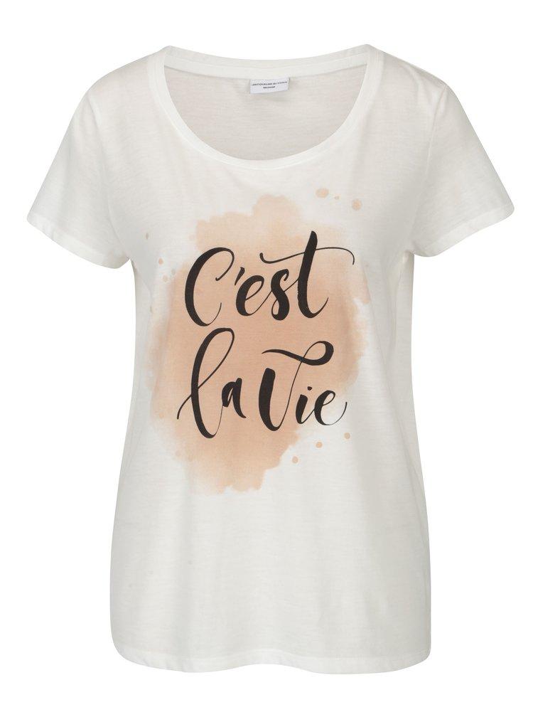 Krémové volné tričko s potiskem Jacqueline de Yong New Sky