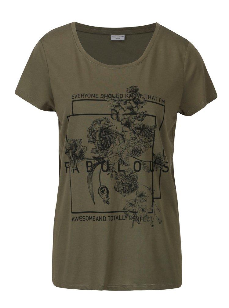 Zelené volné tričko s potiskem Jacqueline de Yong New Sky