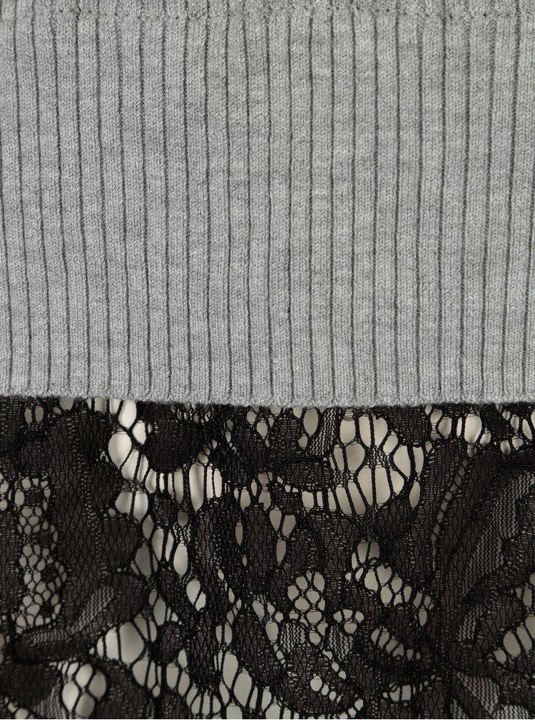 Světle šedý svetr s chokerem a krajkovým lemem ONLY Kamie