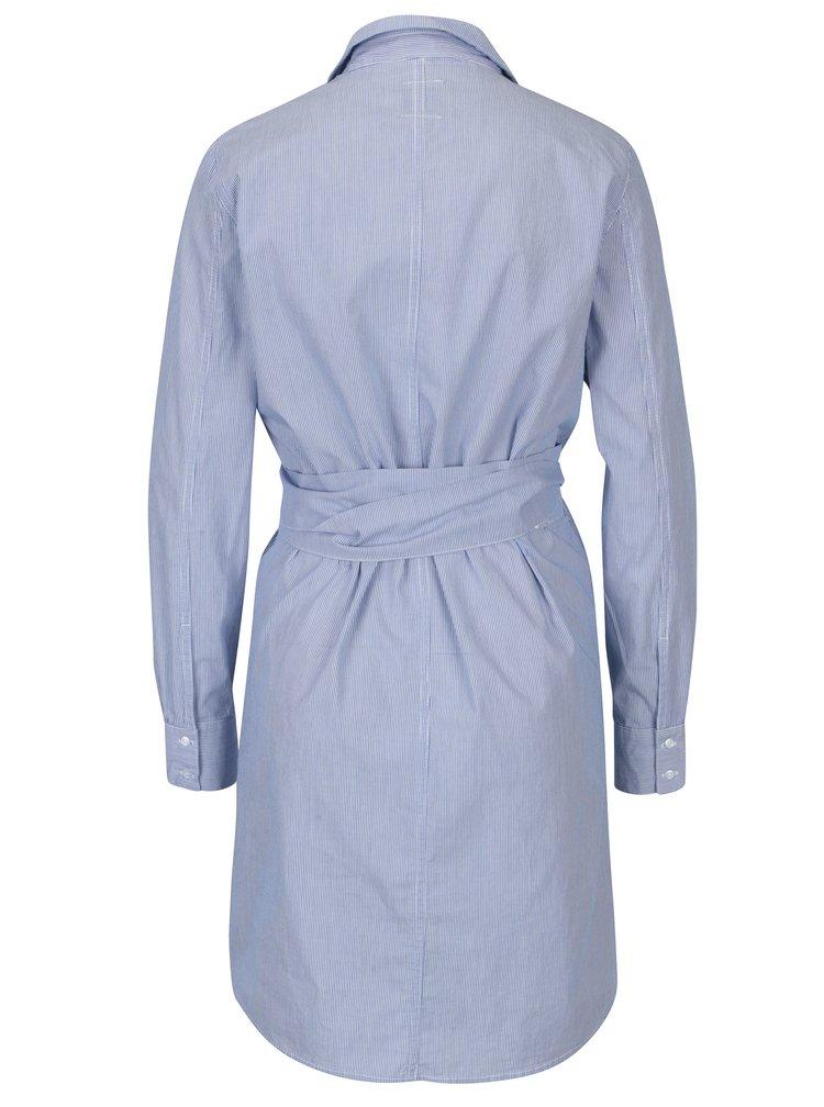 Modré pruhované zavinovací košilové šaty ONLY Rosel