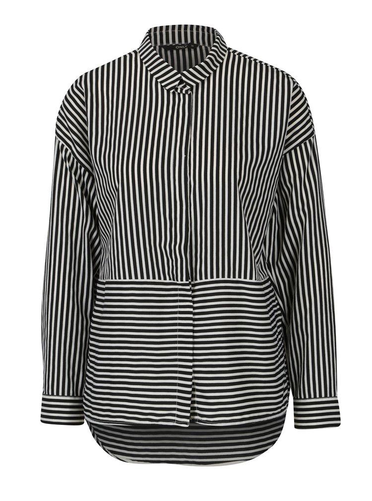Krémovo-černá pruhovaná košile s dlouhým rukávem ONLY Elena