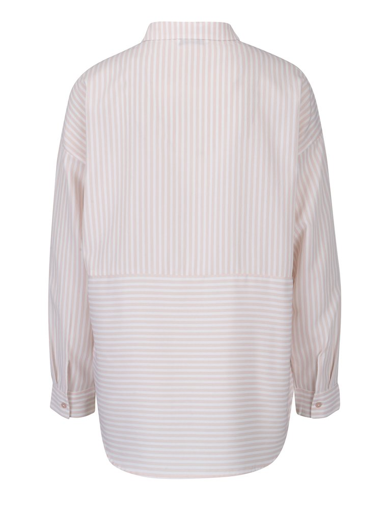 Růžovo-růžová pruhovaná košile s dlouhým rukávem ONLY Elenas