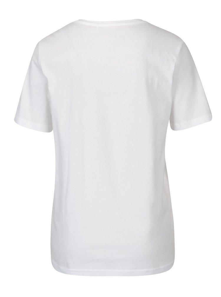 Bílé tričko s potiskem ONLY Rolling Stones