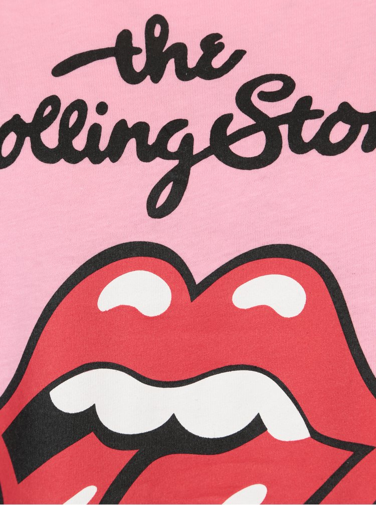 Světle růžové tričko s potiskem ONLY Rolling Stones