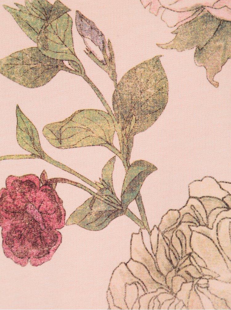 Světle růžová květovaná mikina ONLY Scarlet