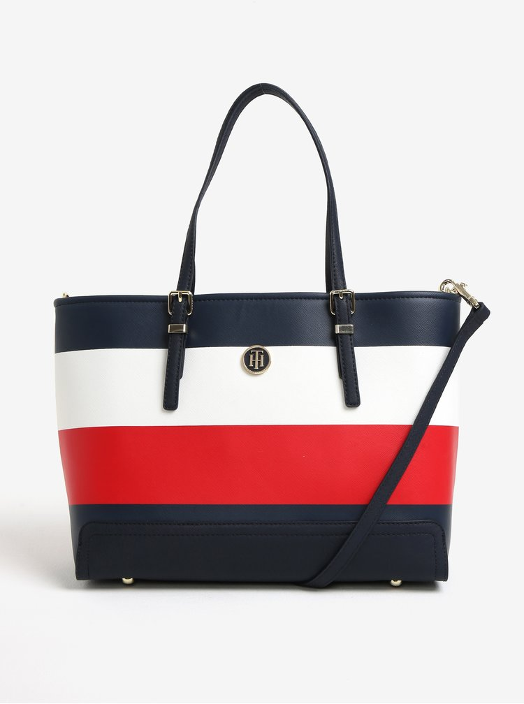 Červeno-modrá velká kabelka Tommy Hilfiger
