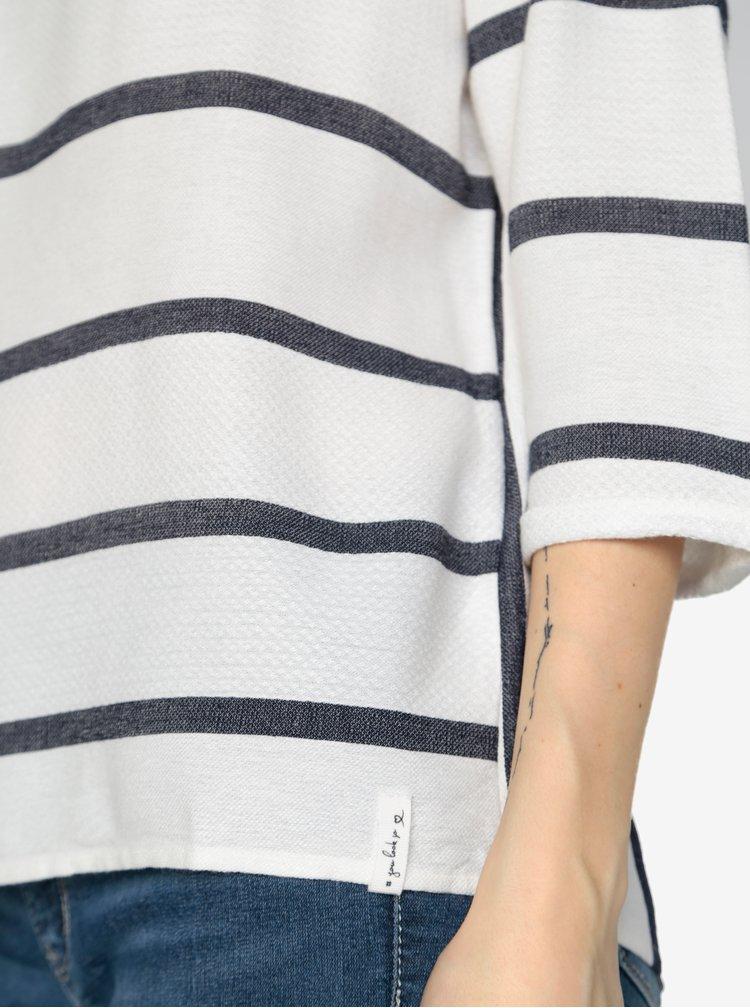 Bluza oversized cu dungi alb & albastru si maneci 3/4 -  s.Oliver