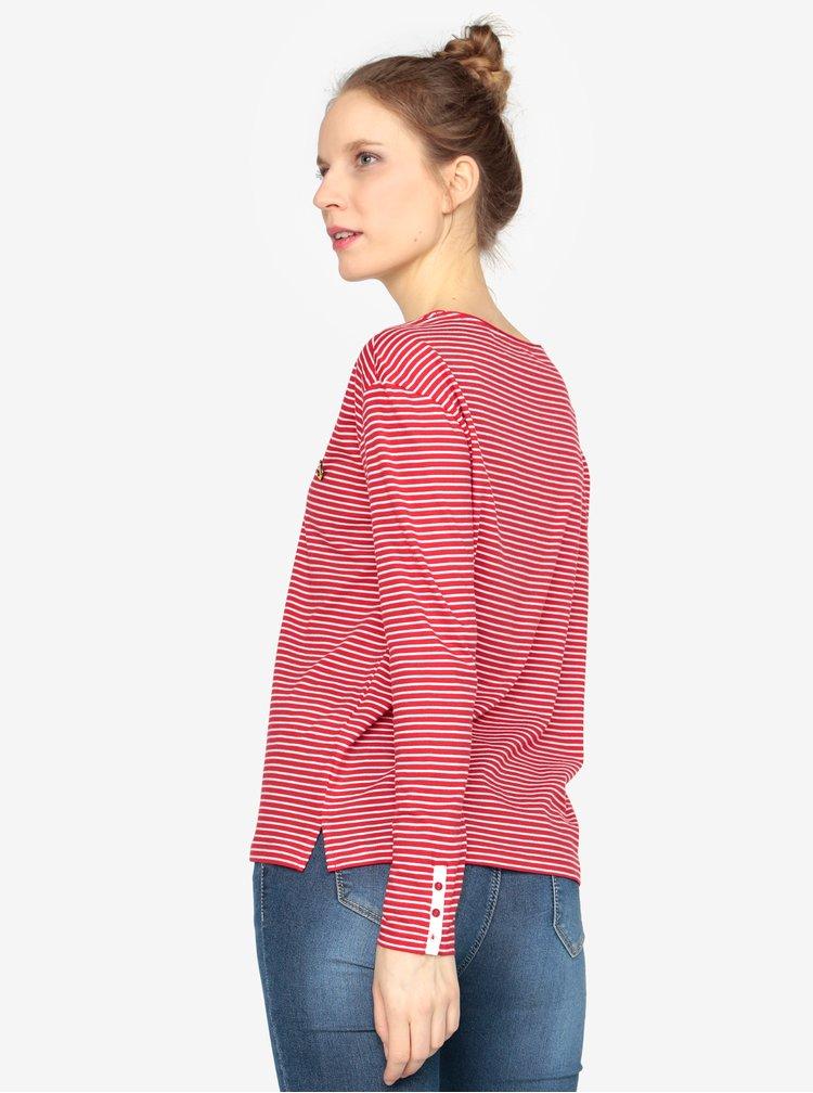 Bílo-červené dámské oversize pruhované tričko s.Oliver