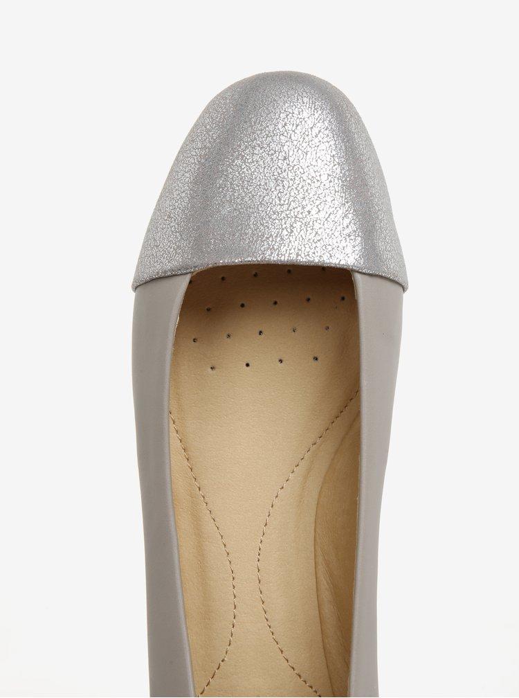 Šedé baleríny s detaily ve stříbrné barvě Geox Lamulay