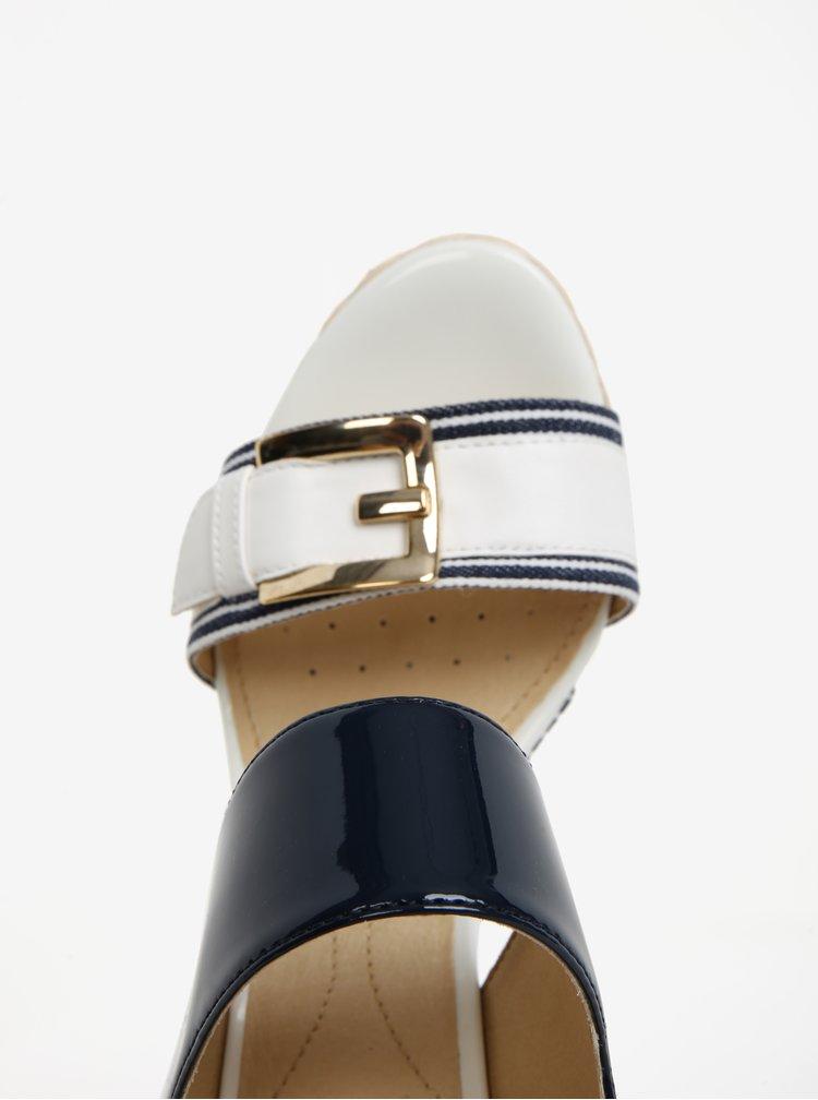 Krémovo-modré sandály na klínu Geox Janira