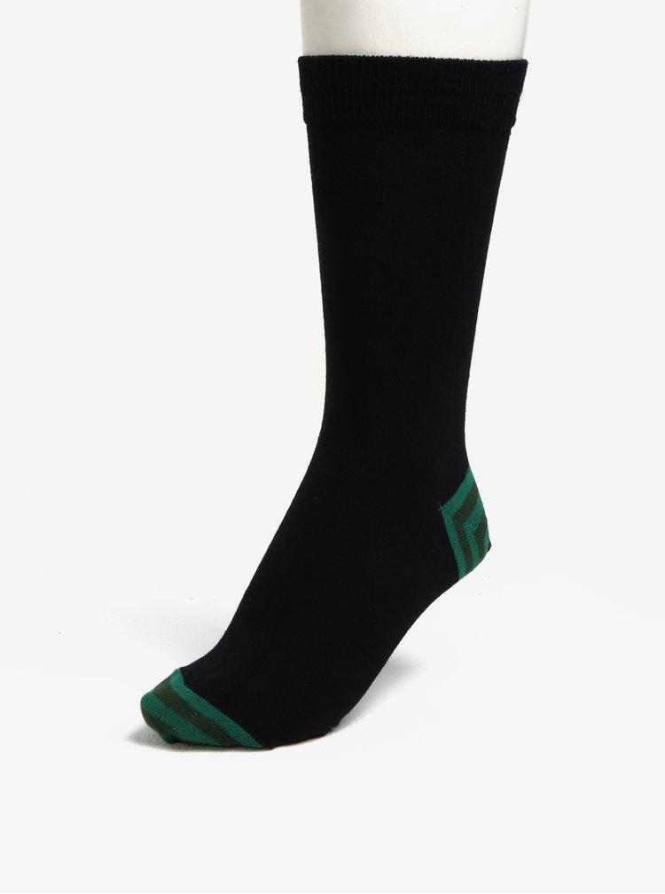 Sada pěti páru černých ponožek s barevnou patou a špičkou Burton Menswear London
