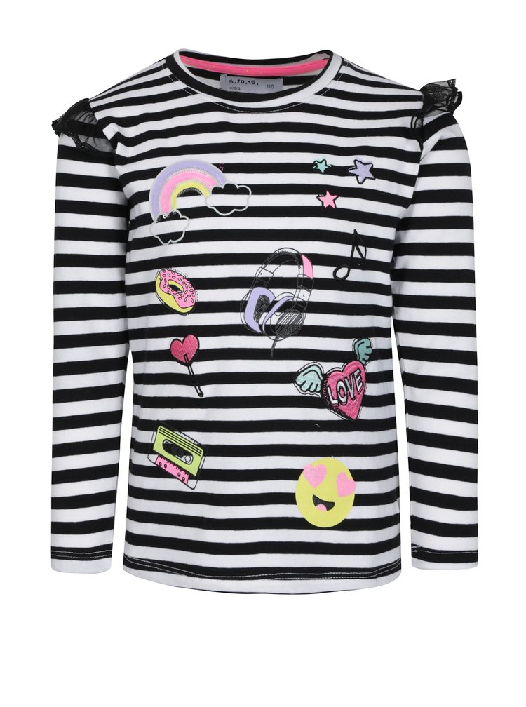 Bílo-černé holčičí tričko s dlouhým rukávem a volány 5.10.15.
