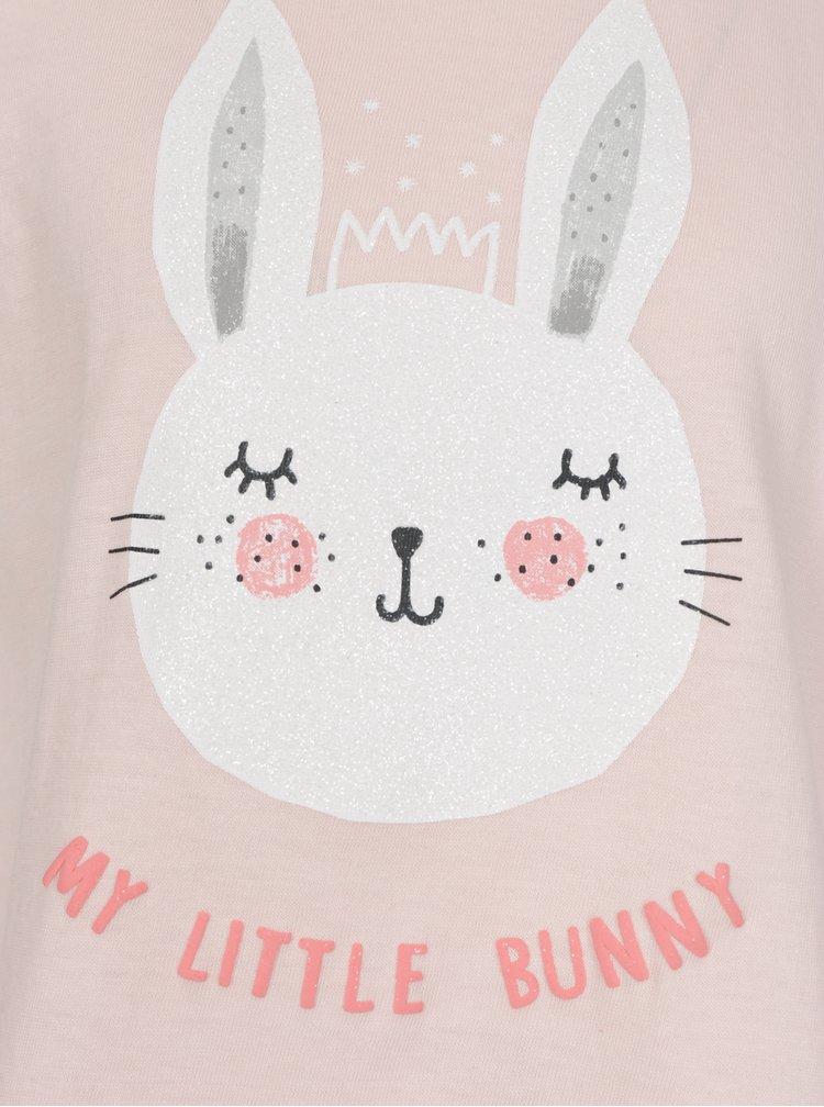 Růžové holčičí tričko s krátkým rukávem a třpytivým potiskem 5.10.15.