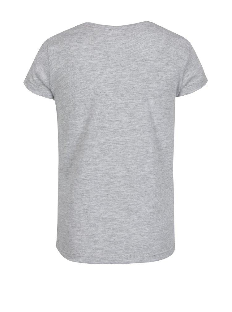 Šedé holčičí žíhané tričko s potiskem 5.10.15.