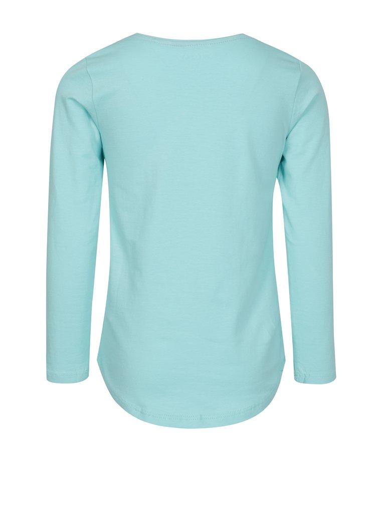 Tyrkysové holčičí tričko s potiskem a dlouhým rukávem 5.10.15.