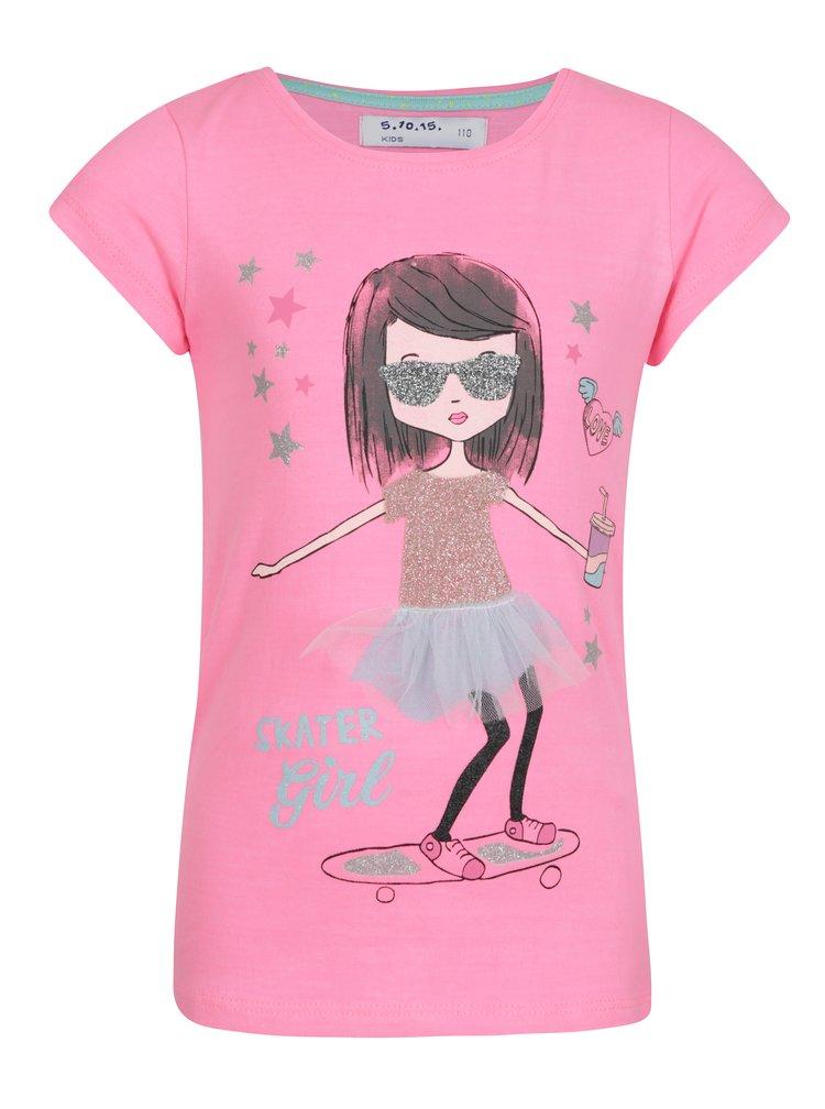 Růžové holčičí tričko s třpytivým potiskem 5.10.15.