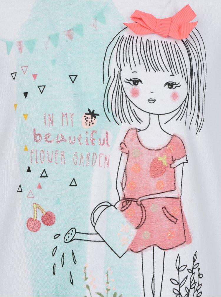 Šedo-krémové holčičí tričko s potiskem a výšivkou 5.10.15.