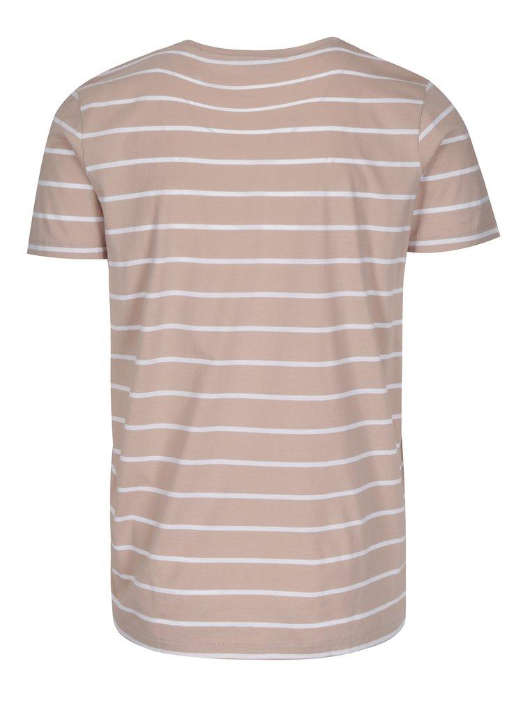 Starorůžové pruhované tričko Selected Homme Max