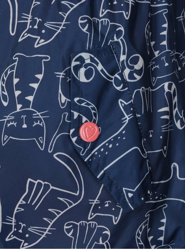 Tmavě modrá holčičí voděodolná bunda s potiskem koček 5.10.15.