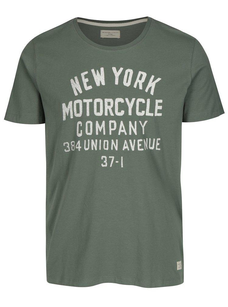 Zelené tričko s potiskem Selected Homme Mike