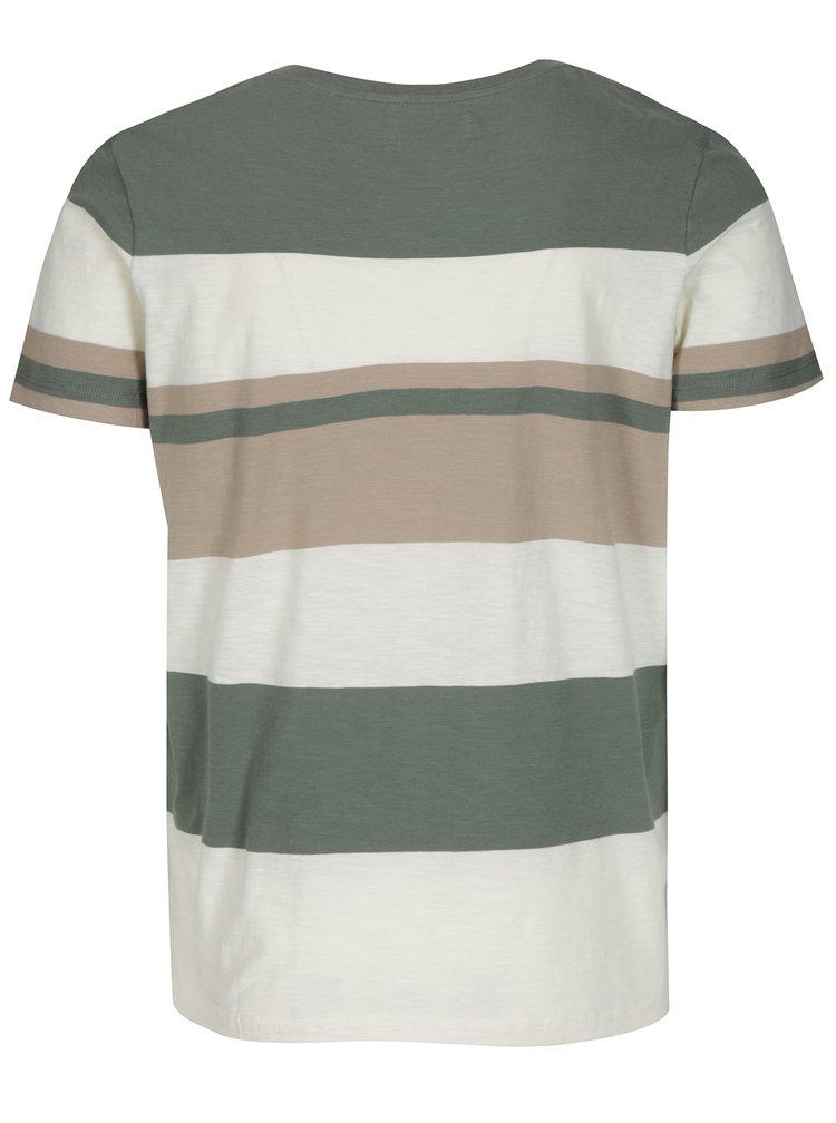 Krémovo-zelené pruhované tričko Selected Homme New Rune