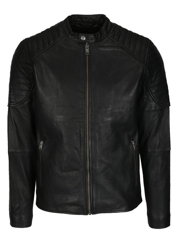 Černá kožená bunda Selected Homme Lloyd
