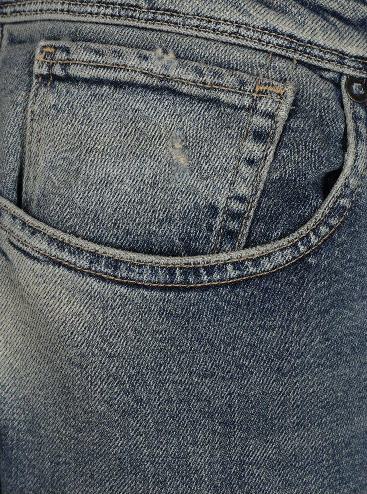 Blugi albastri slim fit cu aspect prespalat si uzat -  Selected Homme Slim
