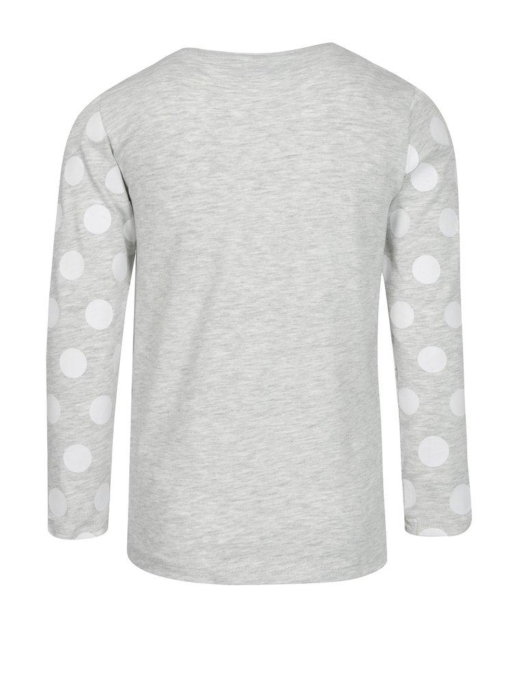 Světle šedé žíhané holčičí tričko s potiskem 5.10.15.