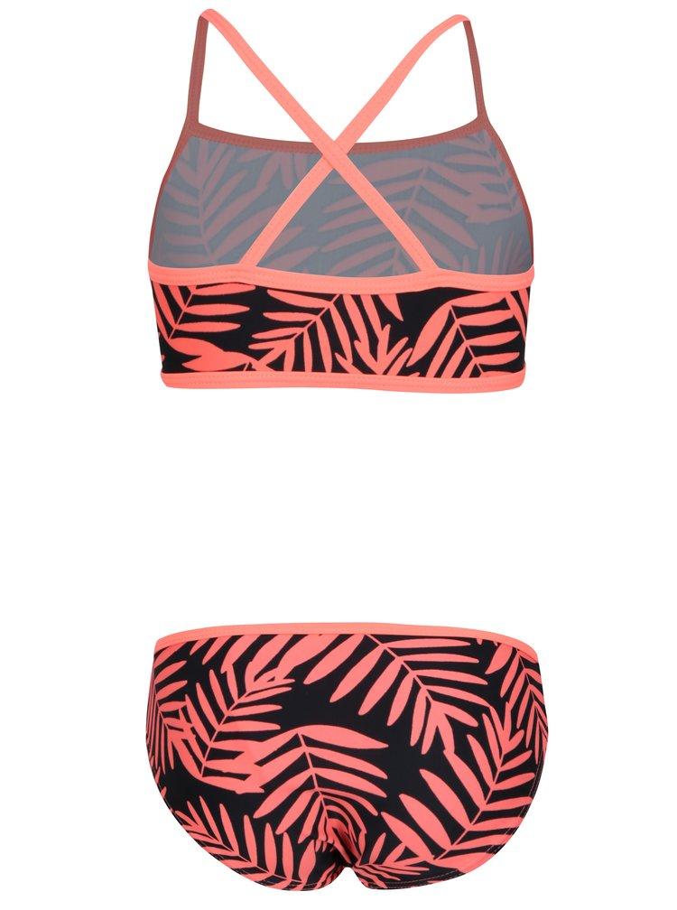 Oranžovo-černé holčičí dvoudílné květované plavky name it Zummer