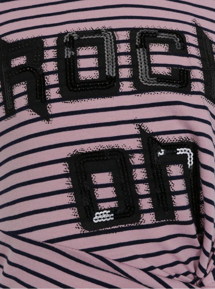 Růžové holčičí pruhované šaty s flitry name it Haily