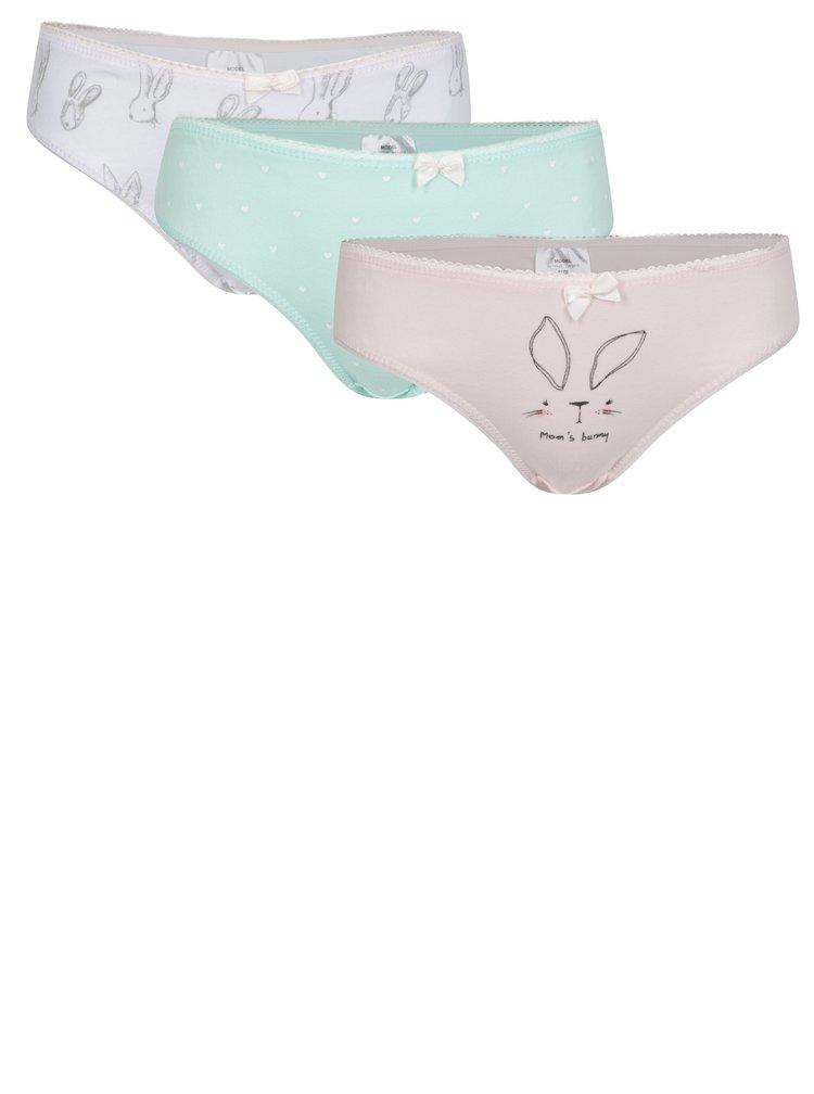 Sada tří holčičích kalhotek v růžové, bílé a zelené barvě 5.10.15.