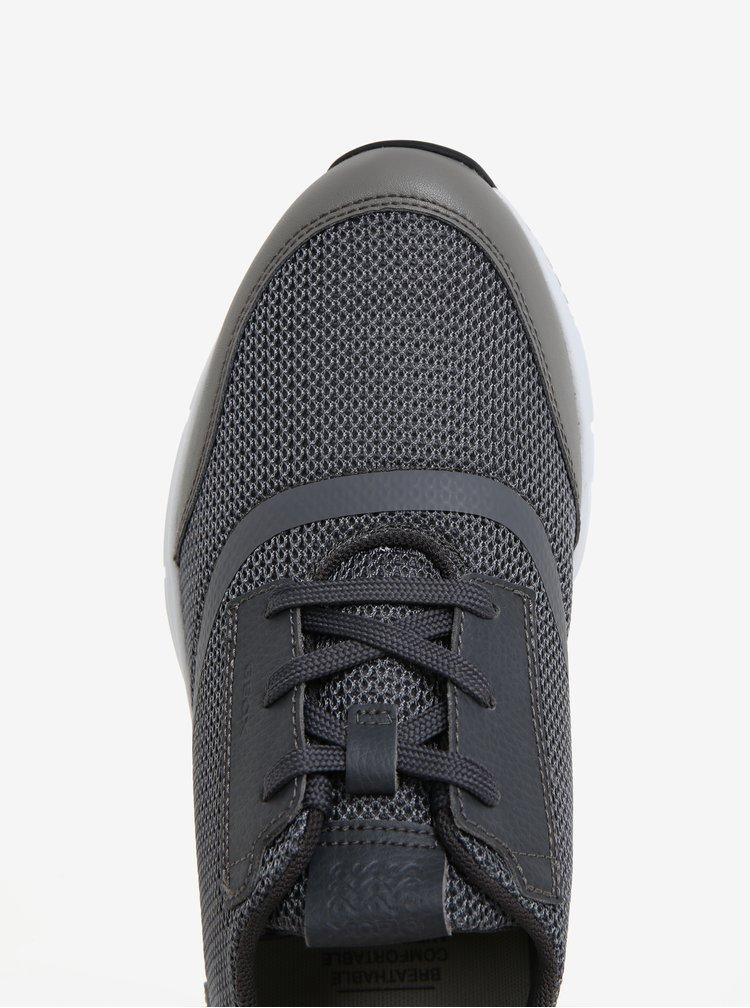 Pantofi sport gri cu detalii din piele pentru barbati - Geox Snapish