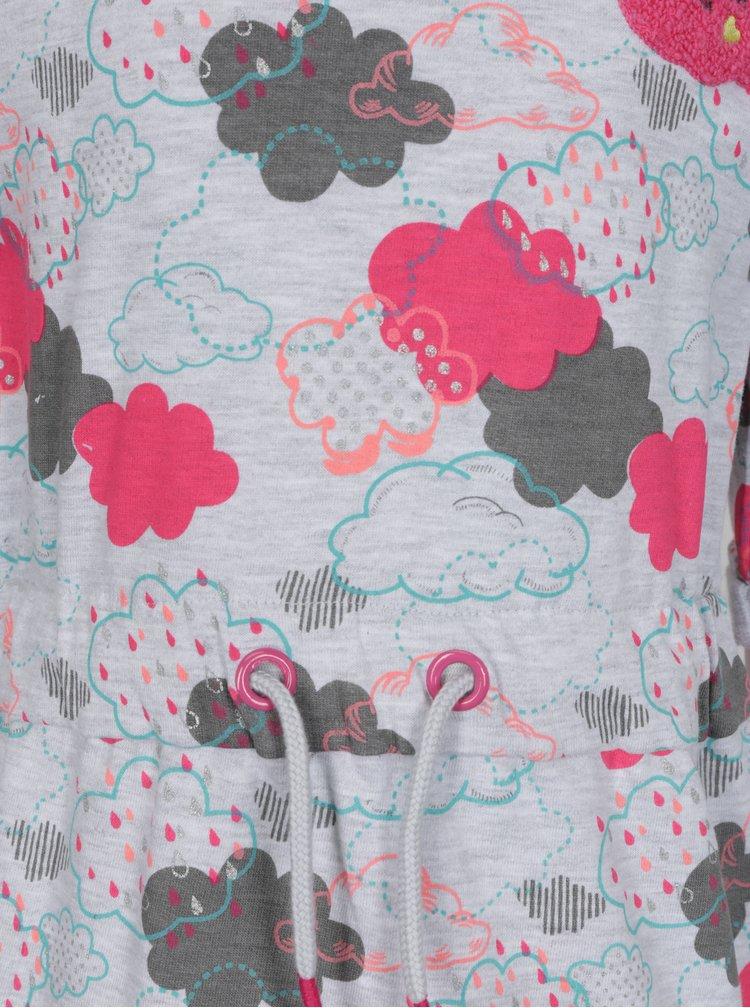Šedé holčičí vzorované šaty s výšivkou 5.10.15.