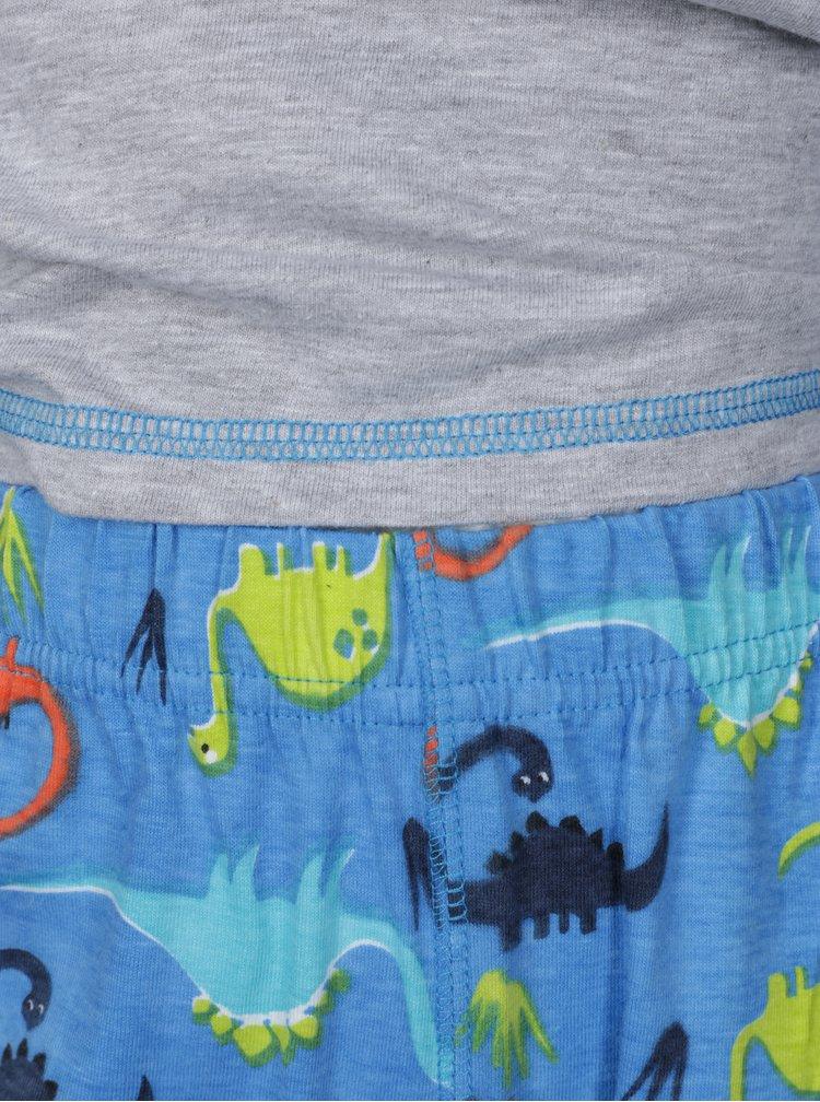 Modro-šedé klučičí dvoudílné pyžamo s motivem dinosaurů 5.10.15.