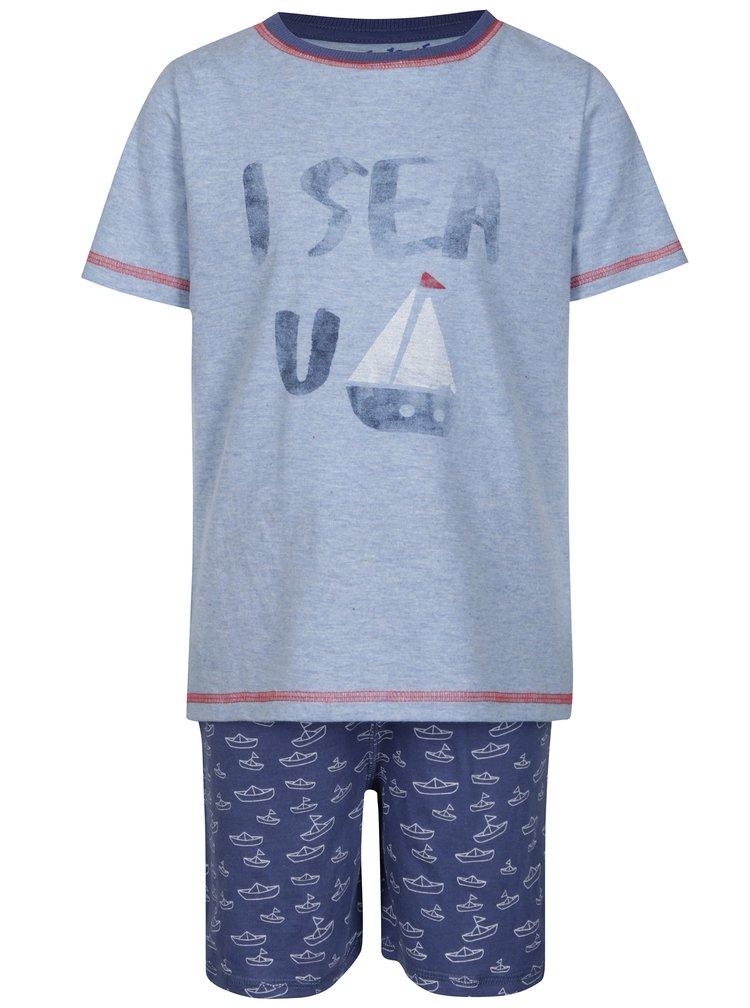 Tmavomodré chlapčenské dvojdielne pyžamo s potlačou 5.10.15.