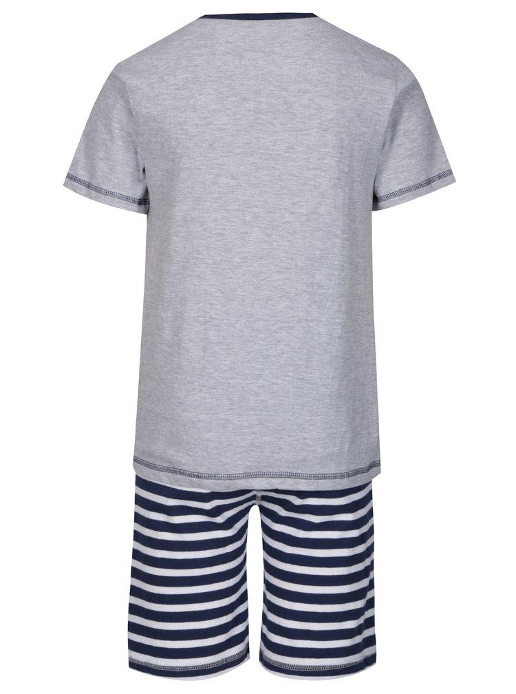 Modro-šedé klučičí dvoudílné pyžamo s potiskem 5.10.15.