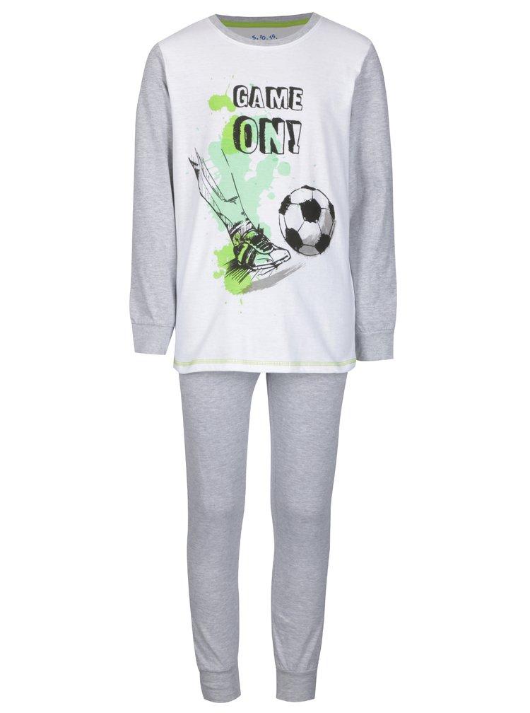 Bílo-šedé klučičí dvoudílné pyžamo s potiskem 5.10.15.