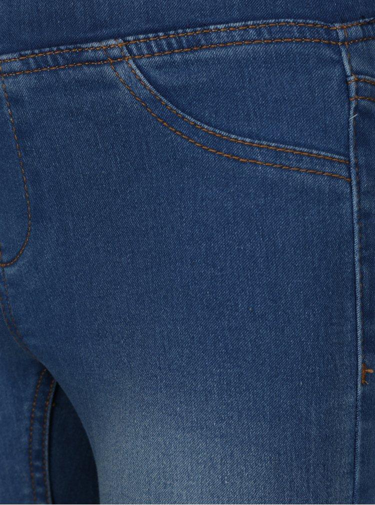 Modré holčičí slim jeggings s vyšisovaným efektem 5.10.15.