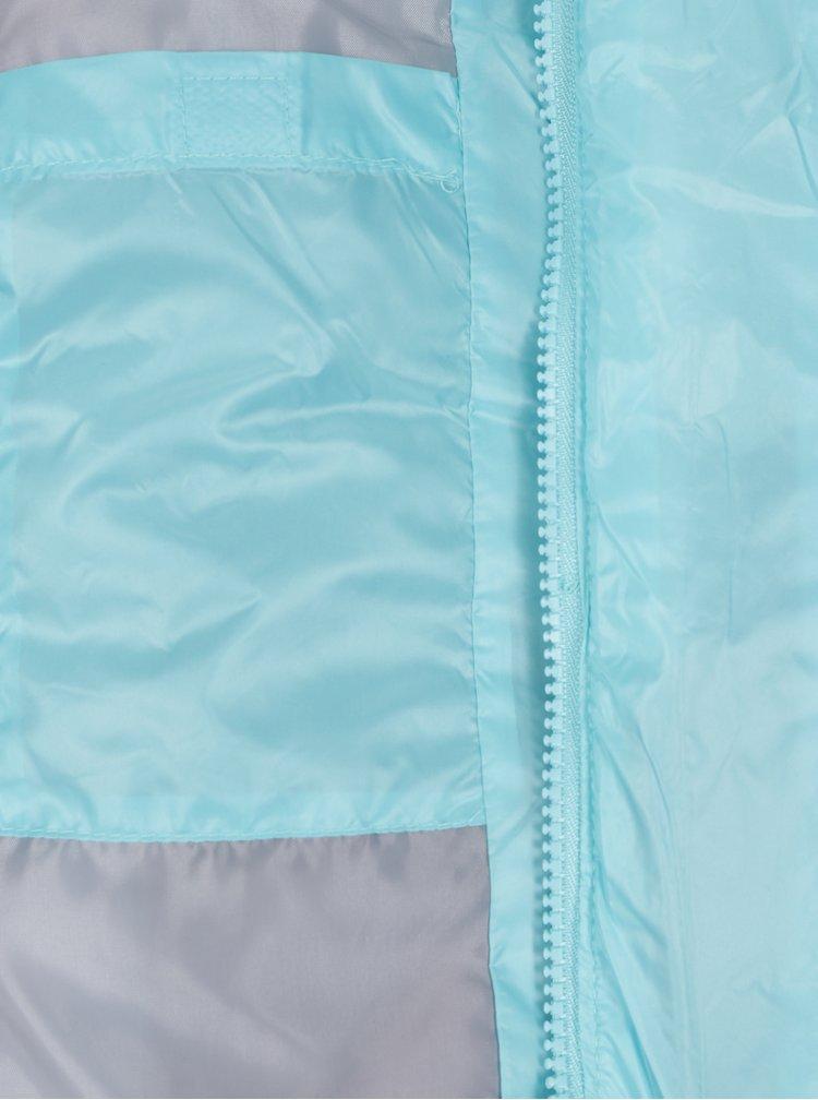 Tyrkysová holčičí prošívaná voděodolná bunda s potiskem 5.10.15.