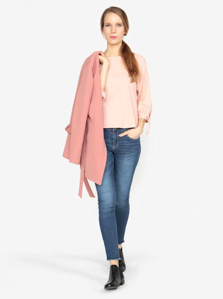 Světle růžová žebrovaná halenka VERO MODA Sia