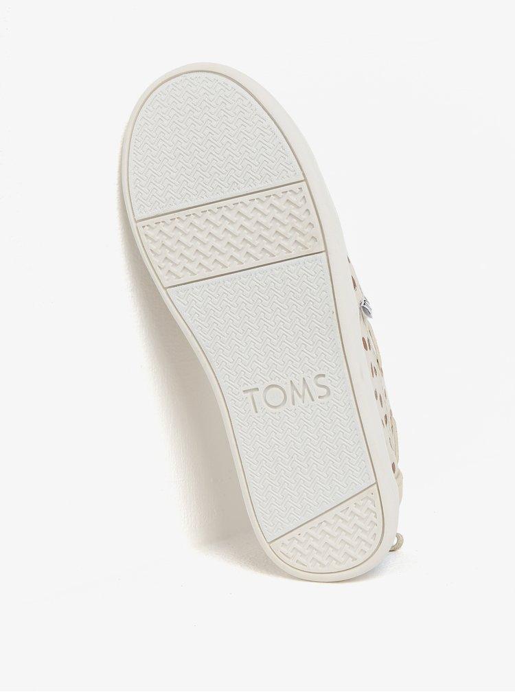 Béžové holčičí puntíkované slip on TOMS
