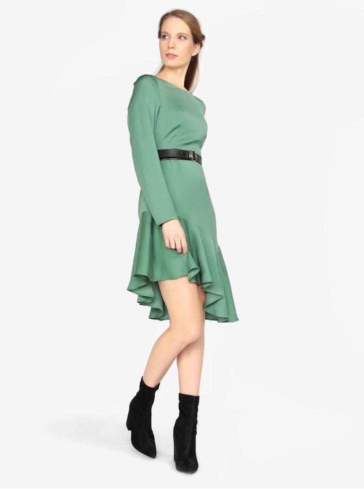 Zelené asymetrické šaty s dlouhým rukávem VERO MODA Elsa