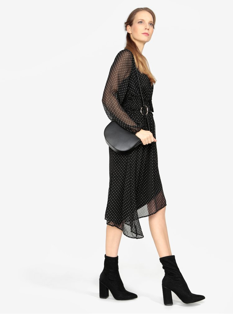 Čierne asymetrické šaty s dlhým rukávom VERO MODA Lotta