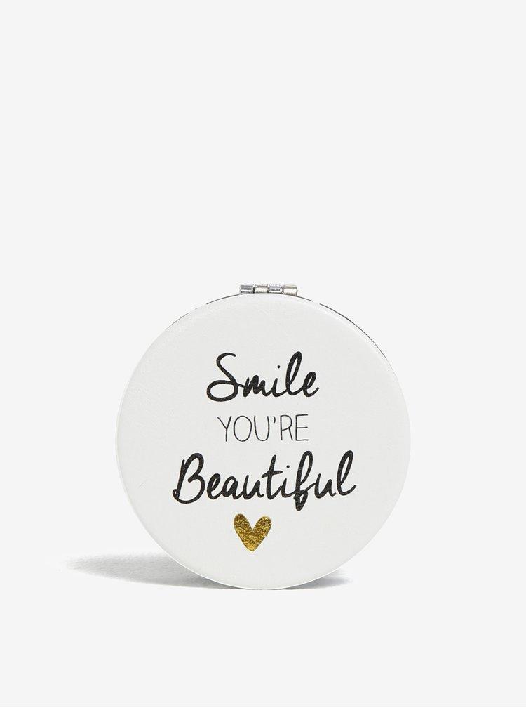 Oglinda compacta alba cu print - CGB Smile