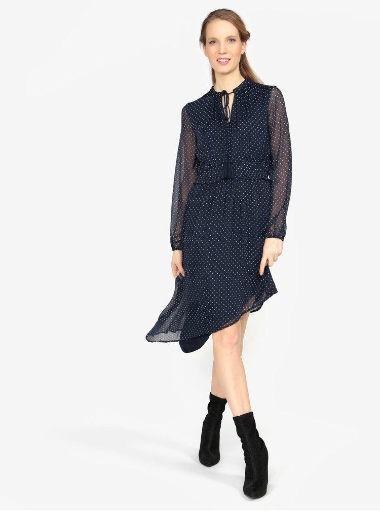 Tmavě modré asymetrické šaty s dlouhým rukávem VERO MODA Lotta