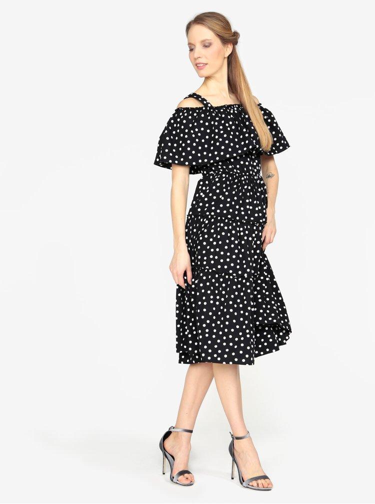 Černé vzorované šaty s odhalenými rameny VERO MODA Loka