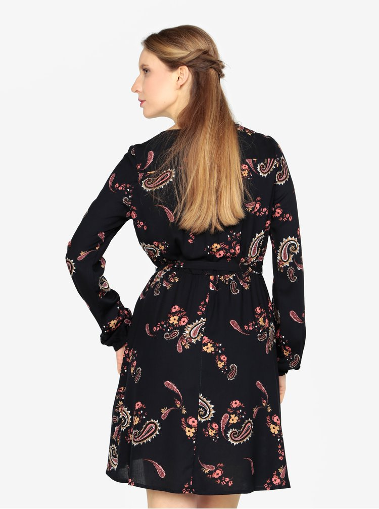 Rochie bleumarin cu decolteu suprapus si print floral - VERO MODA Simply